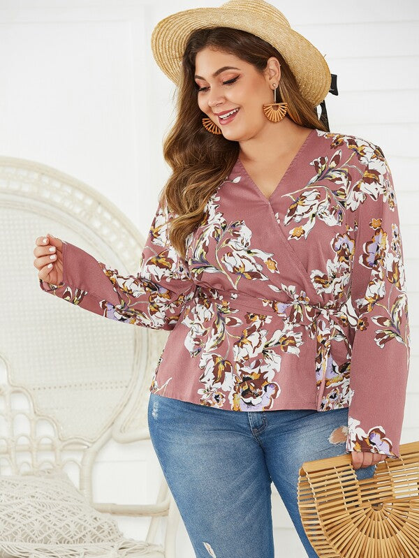 Plus Size Floral Print Surplice Neck Belted Top