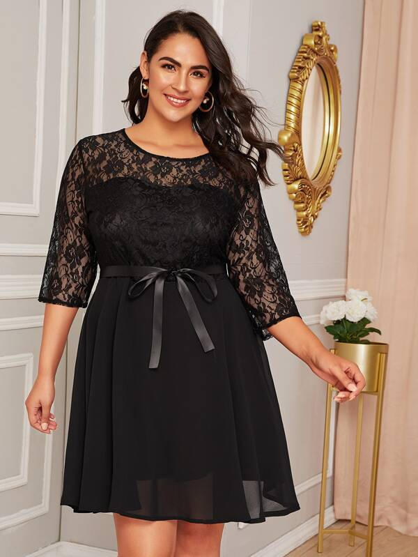Plus Size Lace Panel Belted Flare Dress