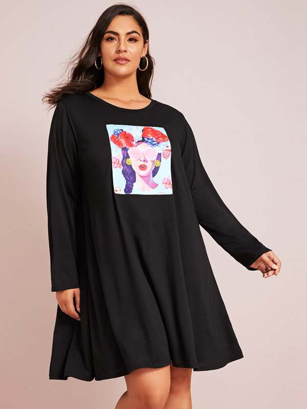 Plus Figure Graphic Patched Top Dress