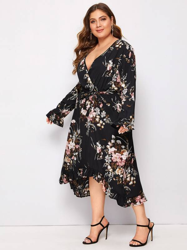 Plus Size Floral Asymmetrical Ruffle Hem Belted Dress