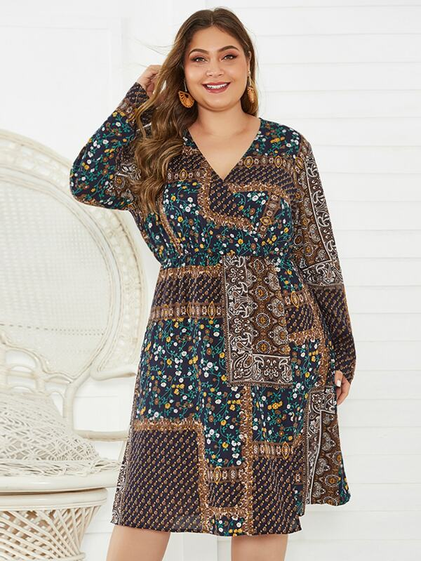 Plus Size Tribal Print Surplice Neck Dress