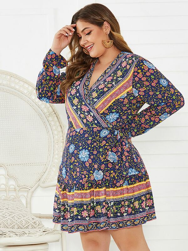 Plus Size Tribal Print Surplice Neck Ruffle Hem Dress