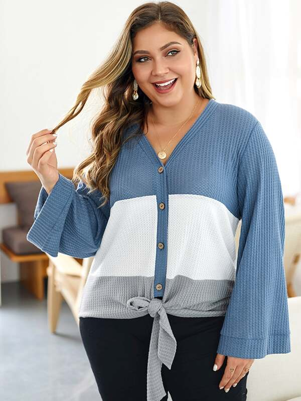Plus Size Cut And Sew Tie Front Cardigan Top