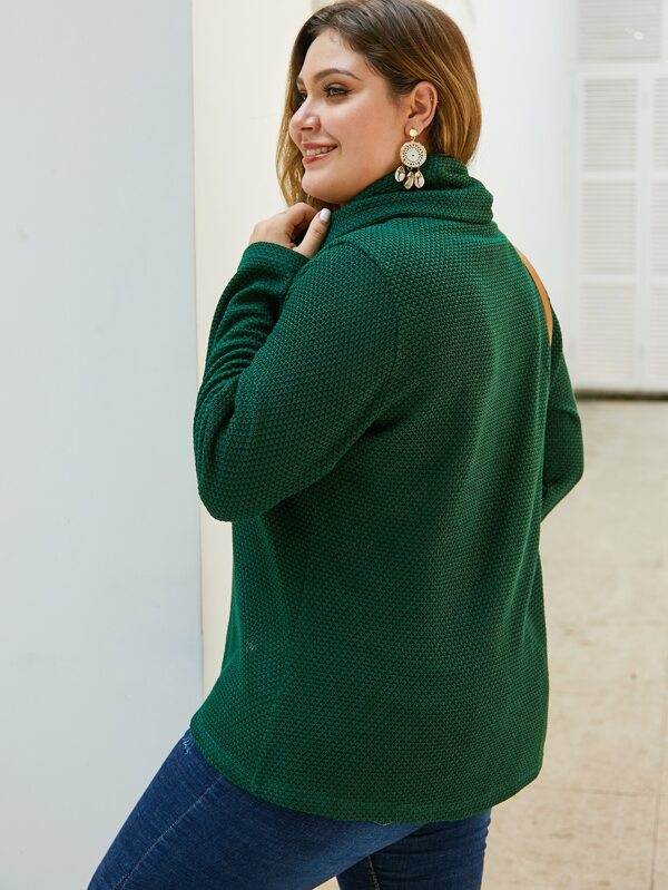 Plus Size Waffle Knit High Neck Sweater