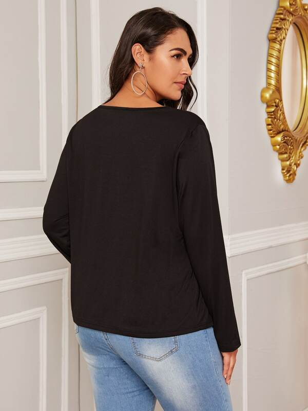 Plus Size Button Detail V Neck Top