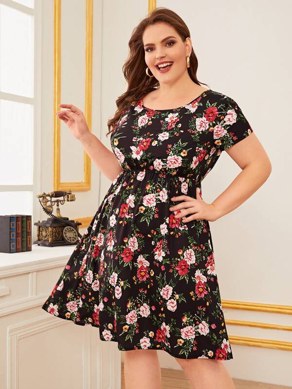 Plus Size Allover Floral Print A-Line Dress