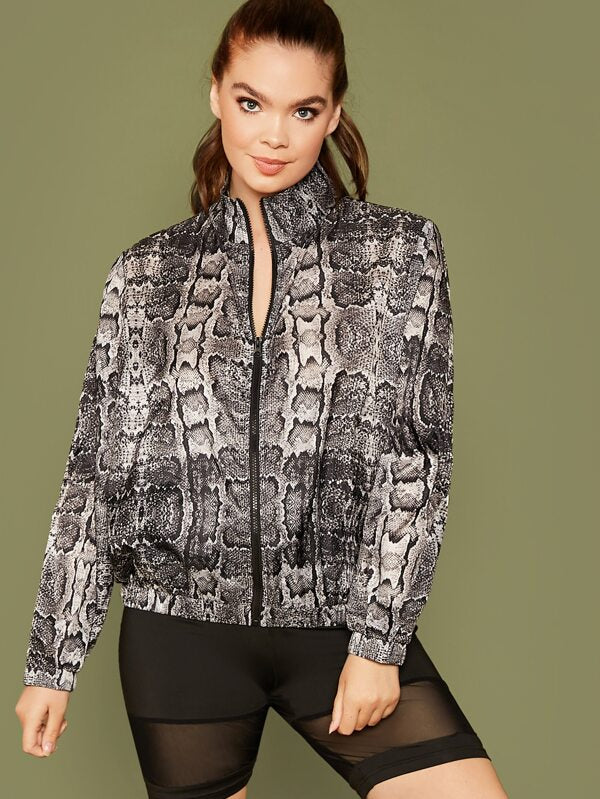 Plus Size Zip Up Snakeskin Print Jacket Top