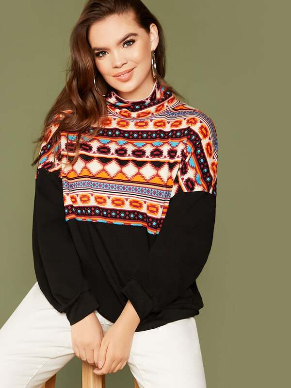 Plus Size High Neck Drop Shoulder Tribal Print Pullover