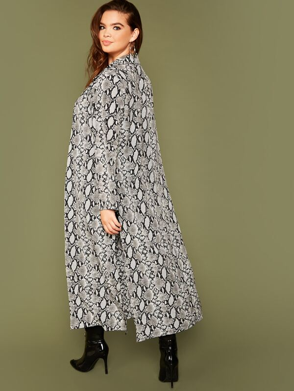 Plus Size Snakeskin Print Split Hem Coat Top