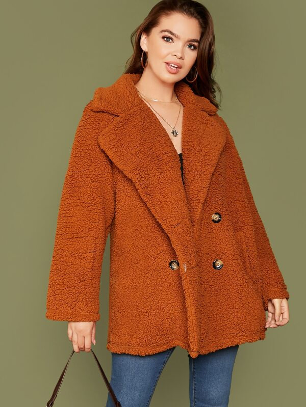 Plus Size Double Breasted Teddy Coat Top