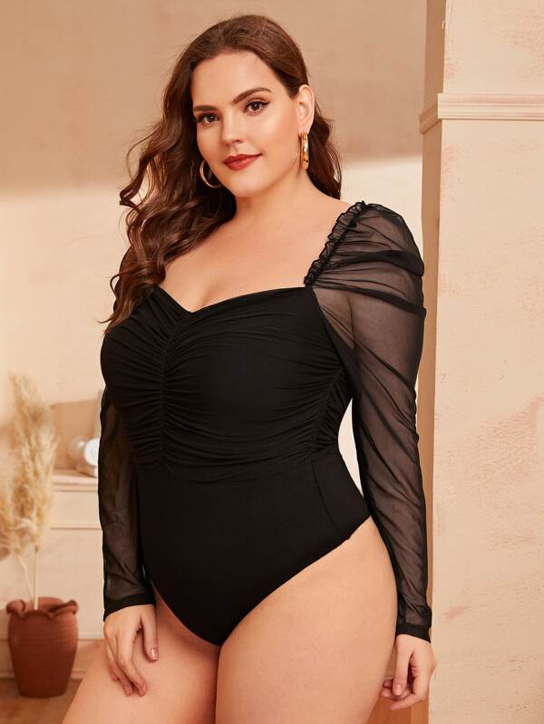 Plus Size Sheer Sleeve Ruched Bodysuit Top
