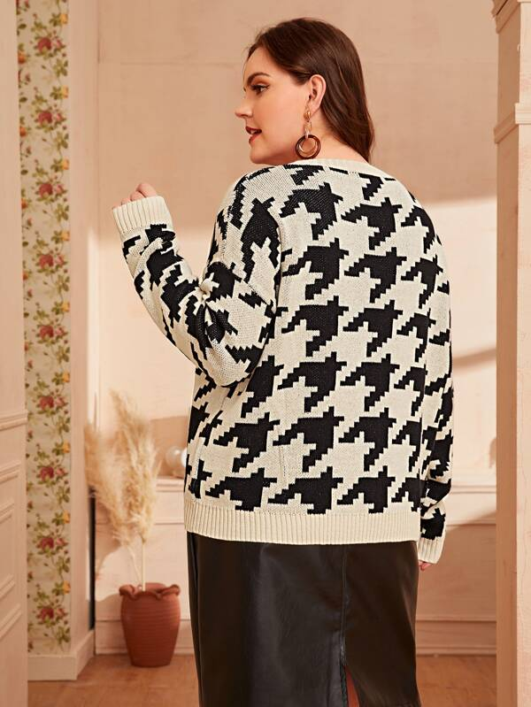 Plus Size Drop Shoulder Houndstooth Sweater Top