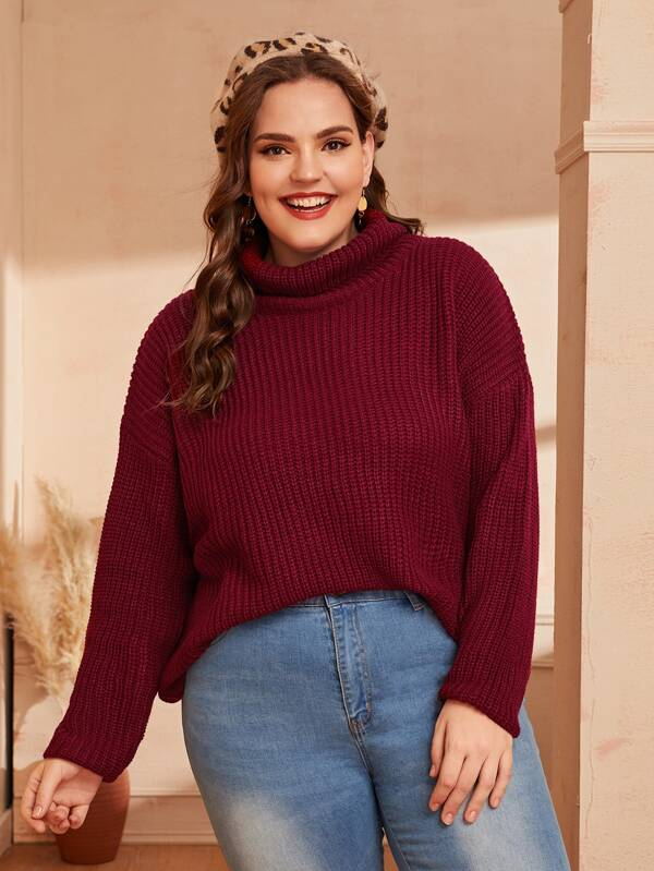 Plus Size Drop Shoulder Turtleneck Jumper