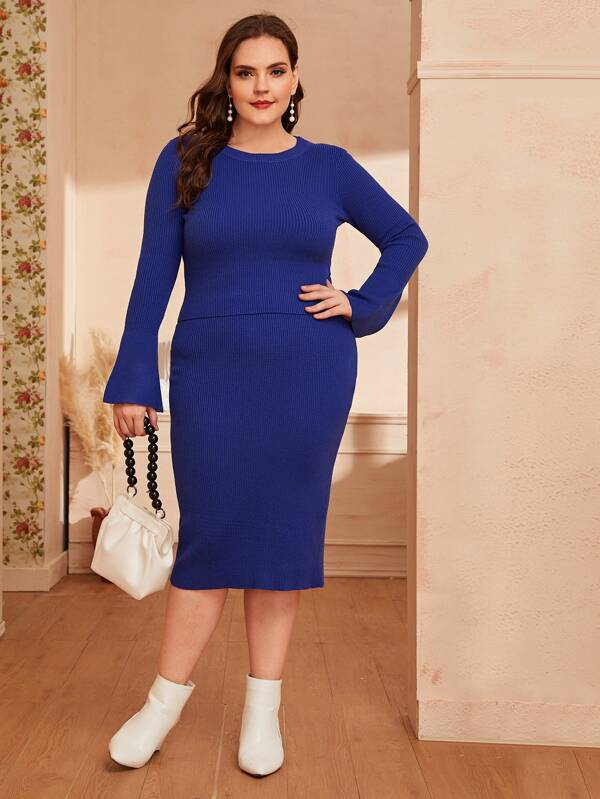 Plus Size Rib-Knit Bell Sleeve Sweater Top & Pencil Skirt Set