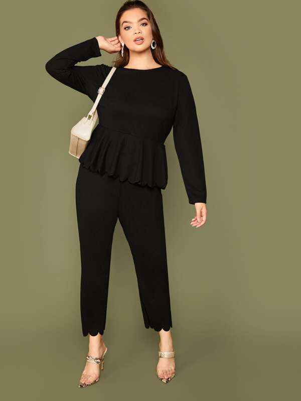 Plus Size Scallop Edge Peplum Top And Pants Set