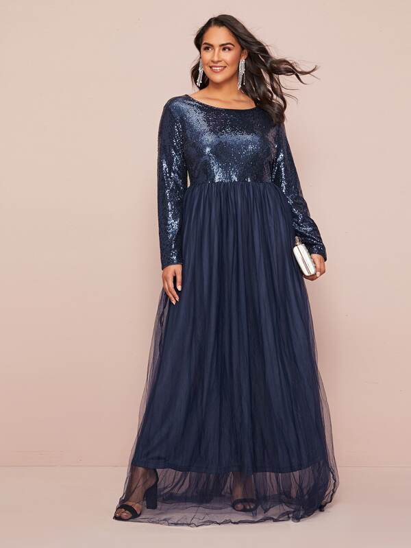 Plus Size Sequin Bodice Mesh Overlay Maxi Dress
