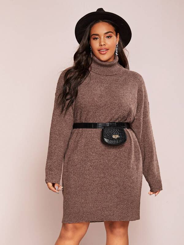 Plus Size Turtle Neck Sweater Top Dress Without Bag