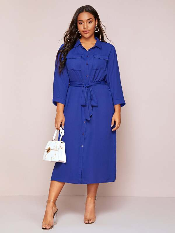 Plus Size Flap Pocket Belted Shirt Dress