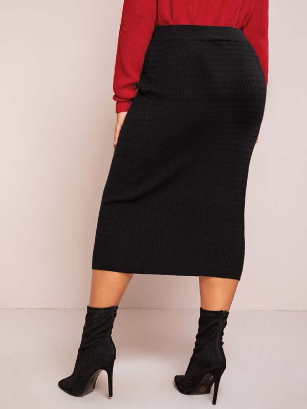 Plus Size High Waist Cable Knit Pencil Skirt