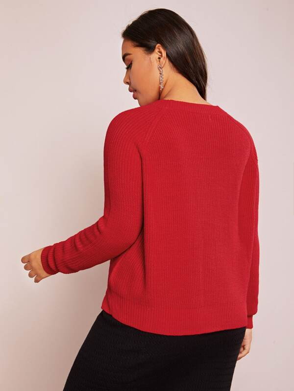 Plus Size Two Tone Split Side Cable Knit Sweater Top