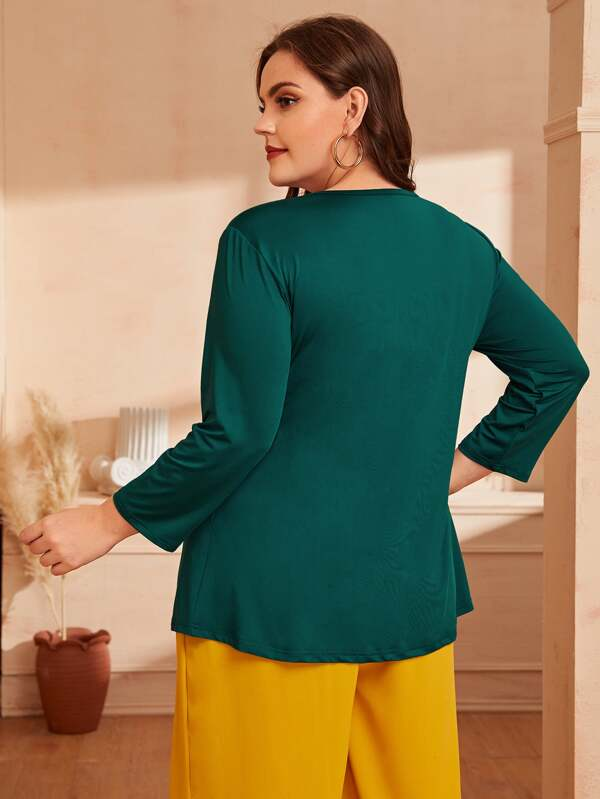 Plus Shirred Front Solid Blouse Top