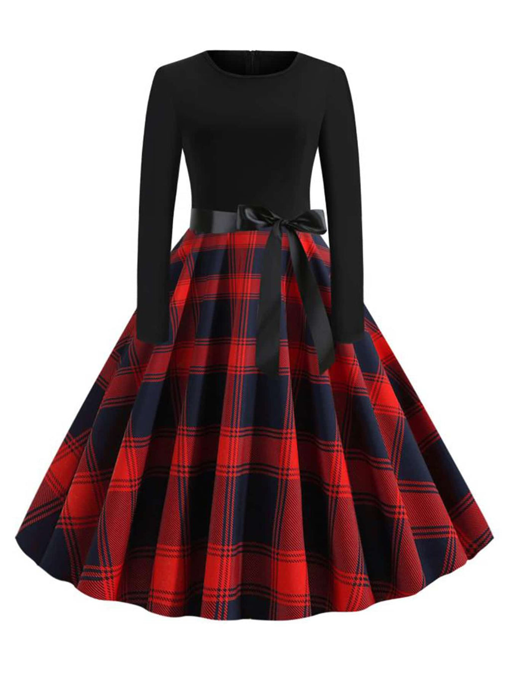 Plus Size Adorable Plaid Print Belted Flare Dress