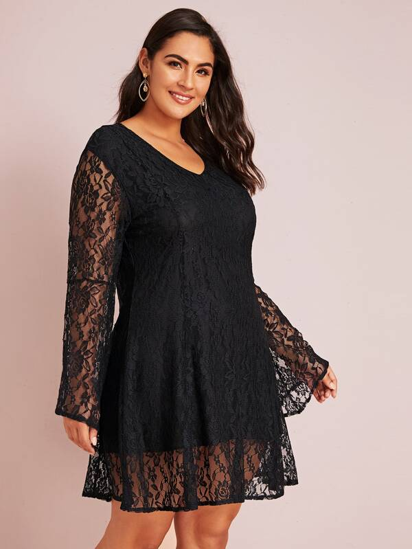 Plus Size Zip Back Lace Overlay Dress