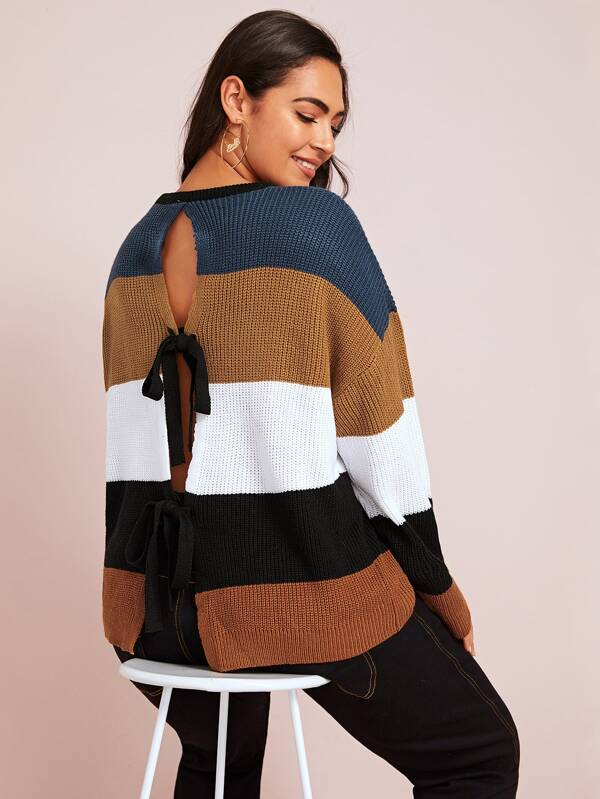 Plus Size Bow Tie Back Color Block Sweater