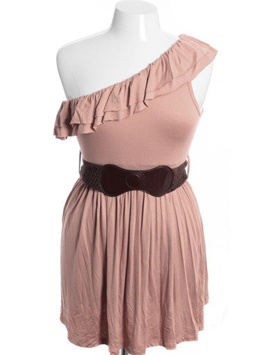 Plus Size One Shoulder Sexy Layered Brown Belt Dress2