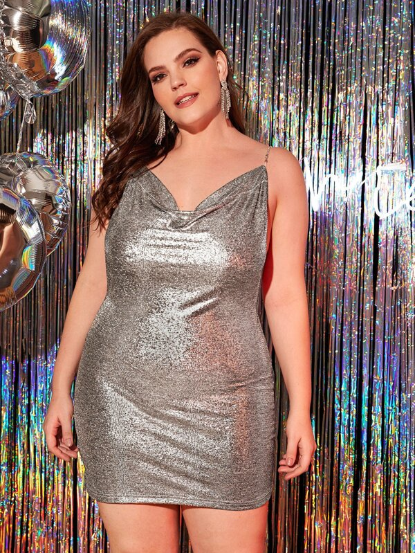 Plus Size Chain Detail Open Back Metallic Cami Dress