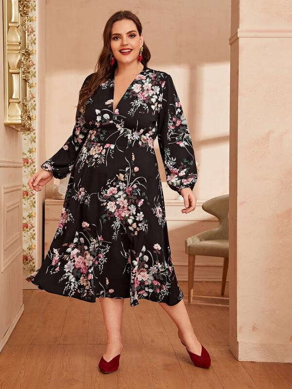 Plus Size Floral Print Bishop Sleeve Plunge Neck Dress