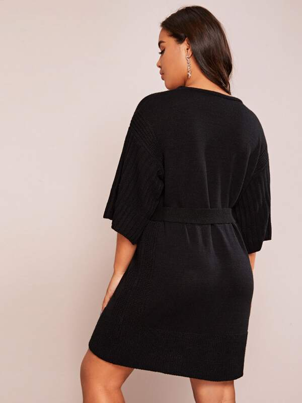 Plus Size Ribbed Knit Self Tie Sweater Top Dress