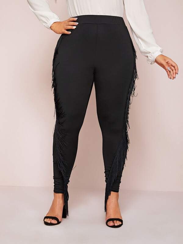 Plus Size Fringe Trim Skinny Leggings