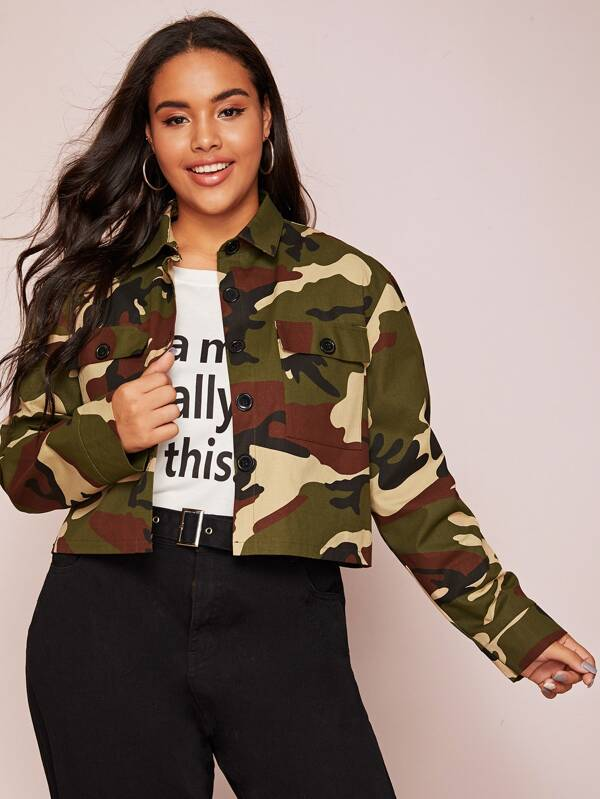 Plus Camo Print Flap Pocket Denim Jacket Top