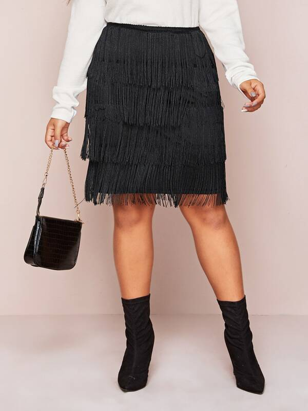 Plus Size Solid Layered Fringe Skirt