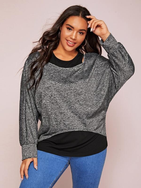 Plus Size Space Dye 2 In 1 Top