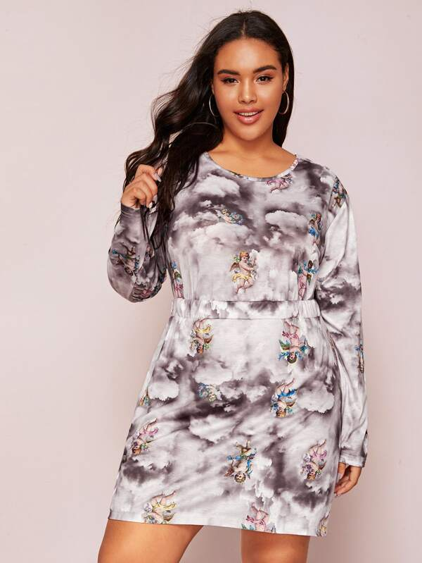 Plus Size Angel Print Top & Skirt Set
