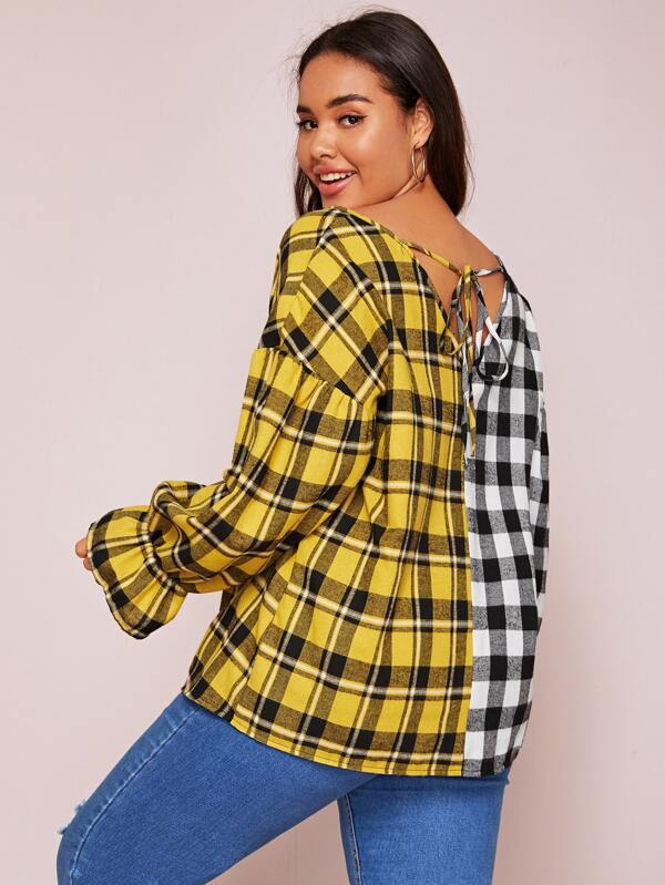 Plus Size Two Tone Plaid Ruffle Top