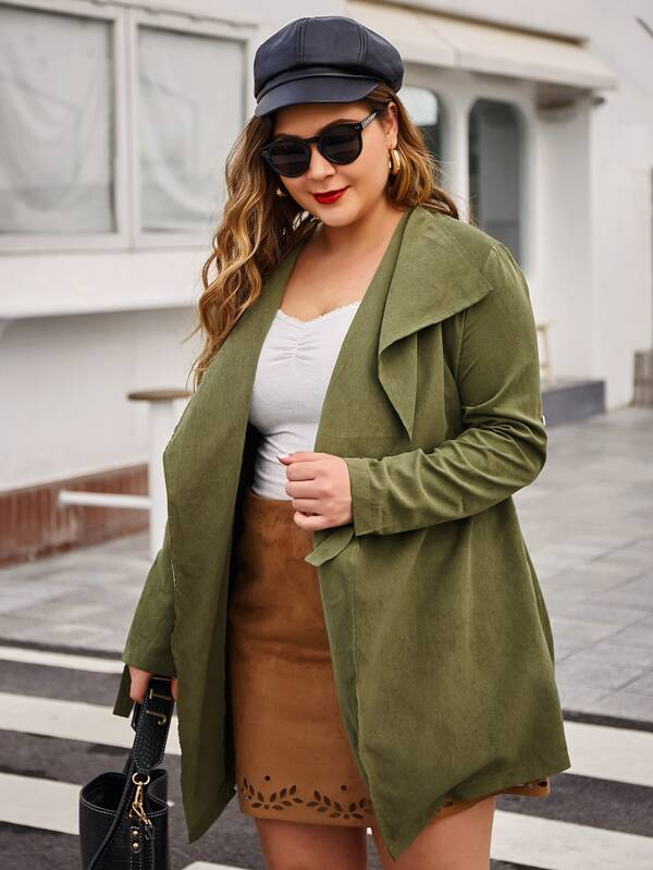 Plus Size Waterfall Collar Solid Belted Coat Top