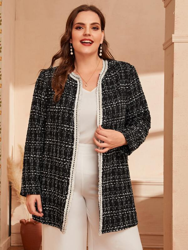 Plus Size Frayed Trim Tweed Coat Top