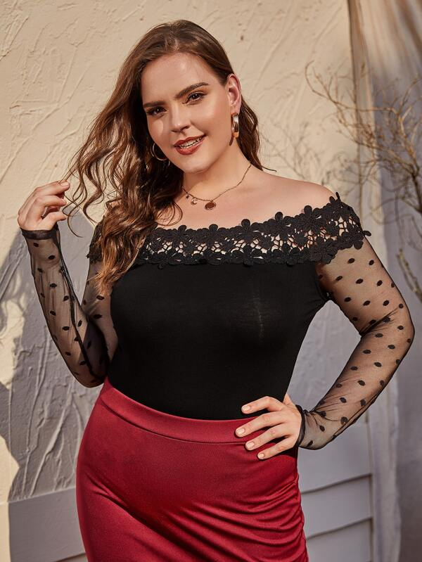Plus Dobby Mesh Sleeve Lace Detail Bardot Top