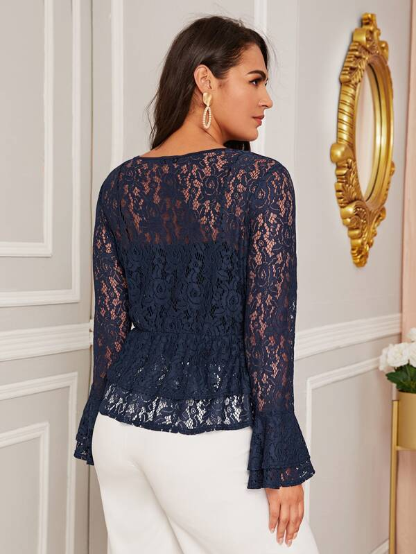 Plus Size Keyhole Neck Lace Peplum Top Without Cami