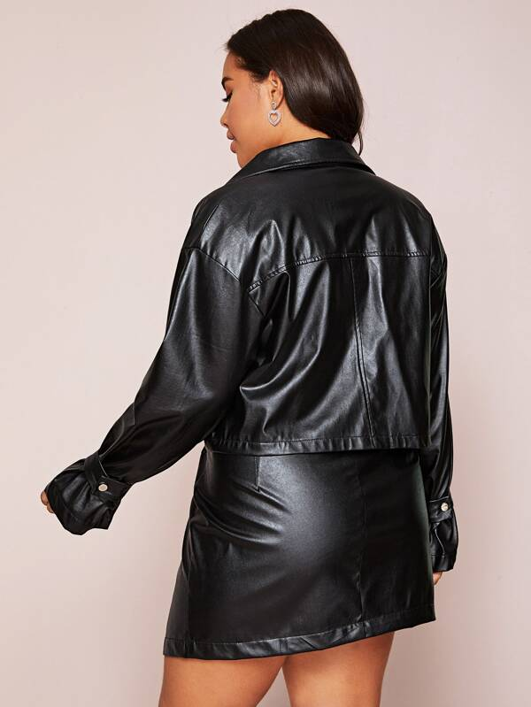 Plus Size Belted Strap Detail Faux Leather Jacket & Skirt Set