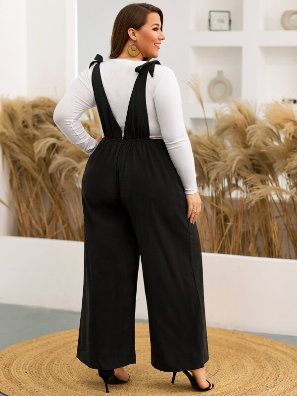 Plus Size Button Detail Pocket Front Overall