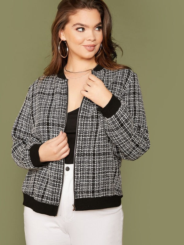 Plus Size Plaid Zip Up Tweed Bomber Jacket