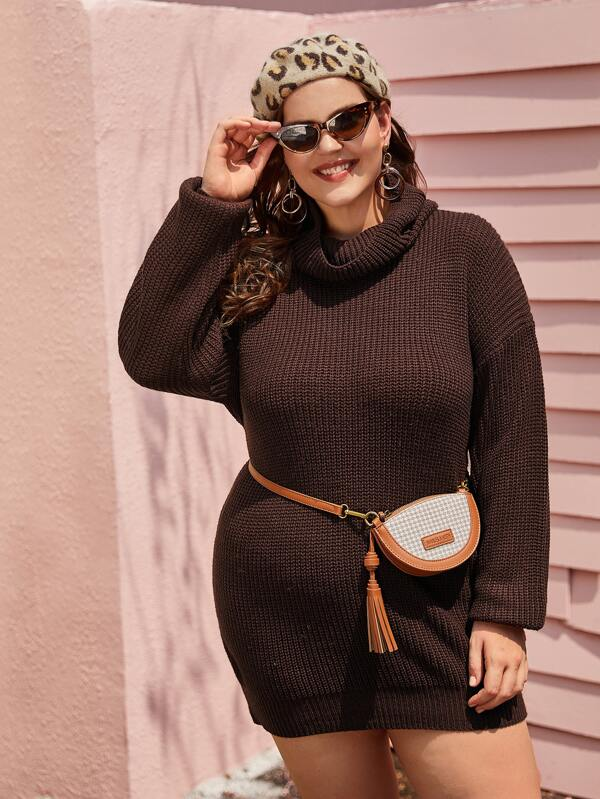 Plus Size High Neck Ribbed Knit Dress