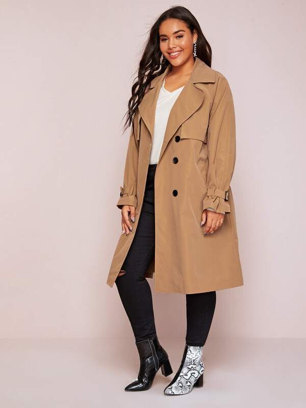Plus Size Self Tie Double Breasted Trench Coat Top