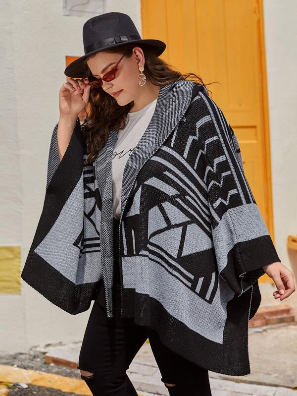 Plus Size Geo Print Hooded Poncho Cardigan Top