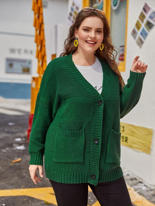 Plus Size Single Breasted Dual Pocket Cardigan Top