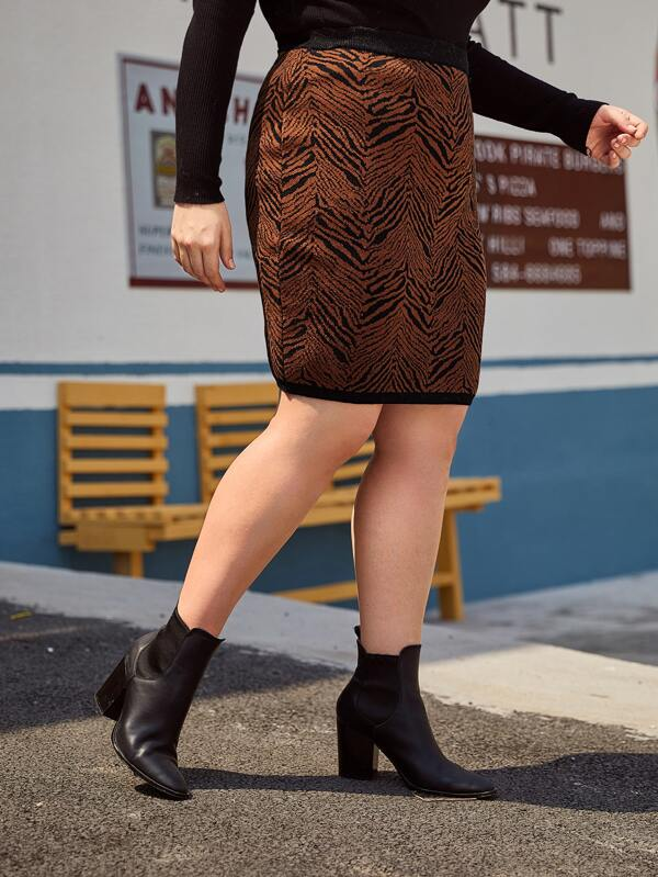 Plus Size All Over Print Bodycon Sweater Top Skirt